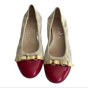 AGL Red Iridescent White Ballerina size 9.5 Flats